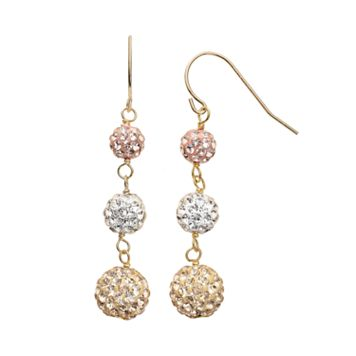 10k Gold Over Silver Crystal Graduated Linear Drop Earrings