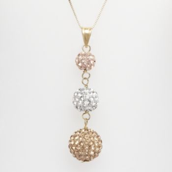 10k Gold Over Silver Crystal Graduated Pendant