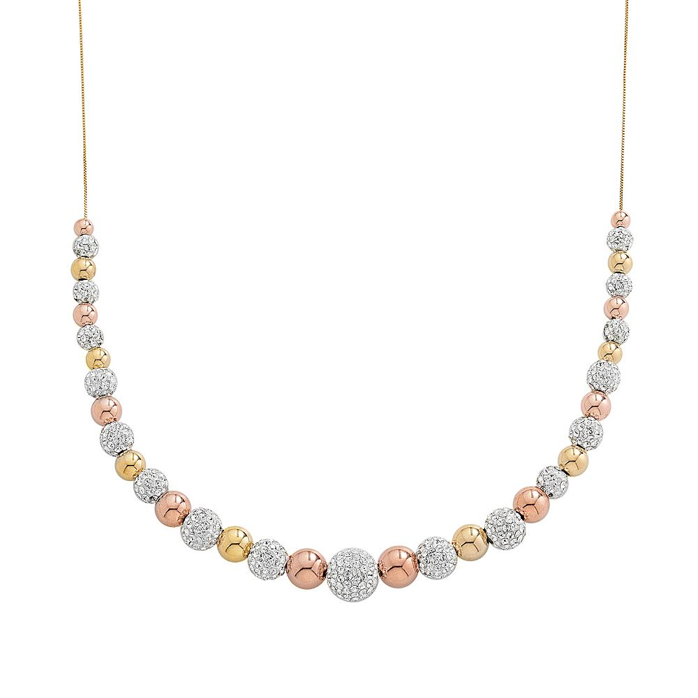 10k Gold & Sterling Silver Two Tone Crystal Graduated Bead Necklace