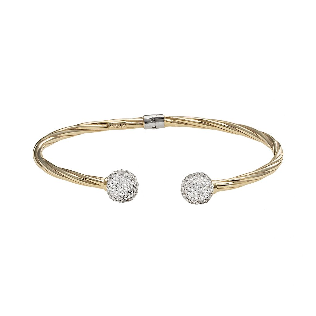 10k Gold Over Silver Crystal Twist Bangle Bracelet