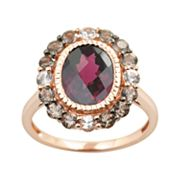 14k Rose Gold Rhodolite Garnet, White Sapphire and Smoky Quartz Oval Frame Ring