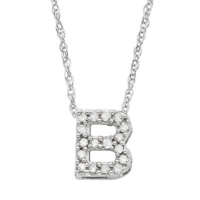 10k White Gold 1/10-ct. T.W. Diamond Initial Pendant