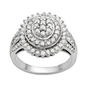 Sterling Silver 1-ct. T.W. Diamond Concentric Oval Ring
