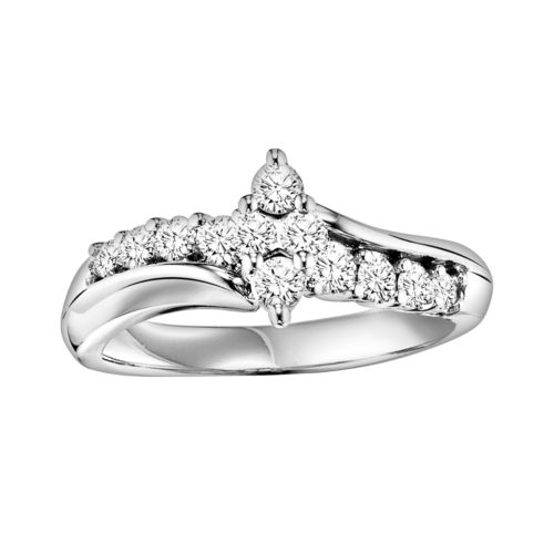 Cherish Always Round-Cut Diamond Marquise Cluster Bypass Engagement Ring in 10k White Gold (5/8 ct. T.W.)