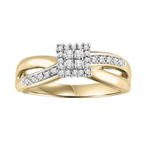 Cherish Always Round-Cut Diamond Cluster Engagement Ring in 10k Gold (1/5 ct. T.W.)