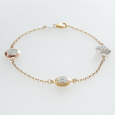 10k Gold Over Silver and Sterling Silver Tri-Tone Crystal Bead Station Bracelet