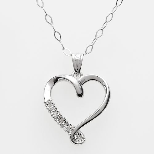 Sterling Silver Diamond Accent Heart Pendant