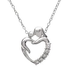 Sterling Silver Diamond Accent Mom Heart Pendant