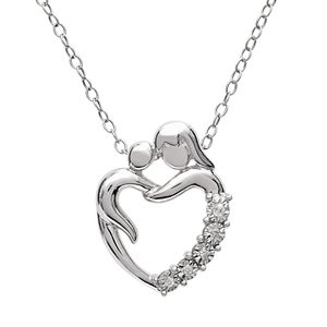 Sterling Silver Diamond Accent Mom Heart Pendant