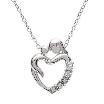 Sterling silver diamond accent mom heart pendant aloadofball Gallery