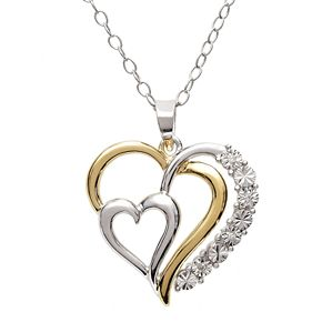 18k gold over silver sterling silver diamond accent heart pendant 18k gold over silver and sterling silver diamond accent heart pendant aloadofball Image collections