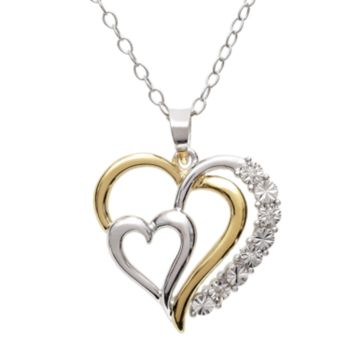 18k Gold-Over-Silver and Sterling Silver Diamond Accent Heart Pendant