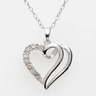 Sterling Silver Diamond Accent Swirl Heart Pendant