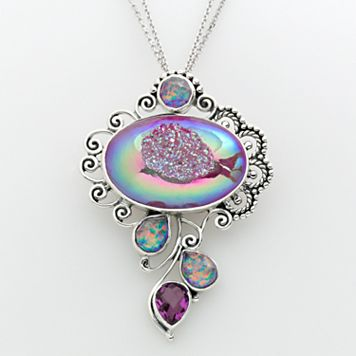 Sterling Silver Drusy, Quartz & Lab-Created Opal Pendant