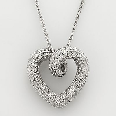 Sterling Silver 2-ct. T.W. Black and White Diamond Reversible Heart Pendant