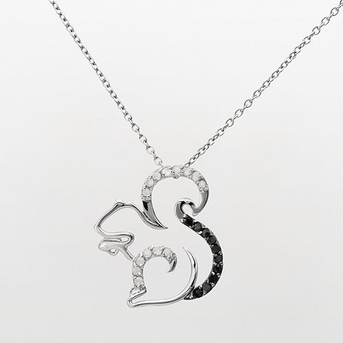 Sterling silver 14 ct tw black white diamond squirrel pendant tw black white diamond squirrel pendant aloadofball Image collections