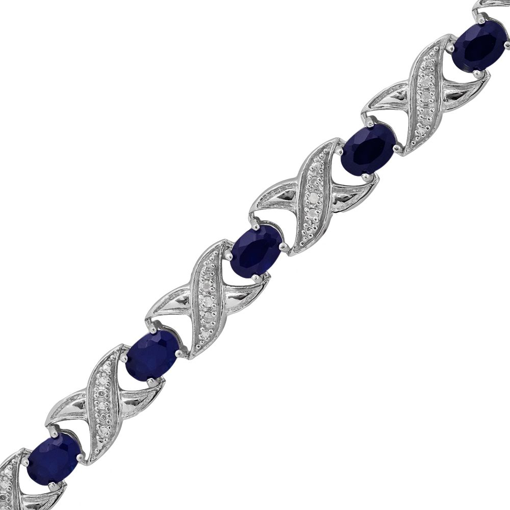 "Sterling Silver 1/4-ct. T.W. Diamond & Lab-Created Sapphire ""XO"" Bracelet"
