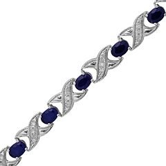 Sterling Silver 1/4-ct. T.W. Diamond & Lab-Created Sapphire 'XO' Bracelet