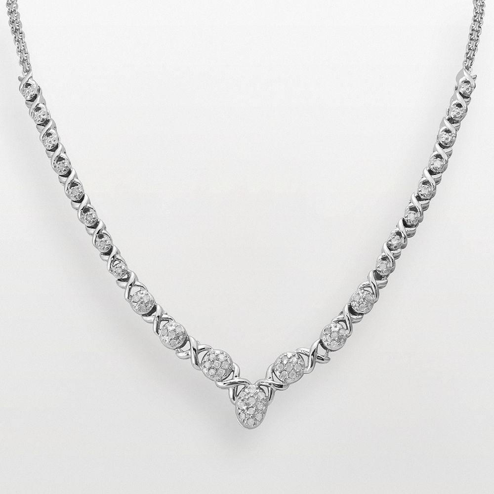 "Sterling Silver 1/2-ct. T.W. Diamond ""XO"" Necklace"