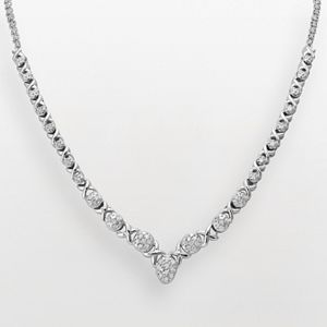 Sterling Silver 1/2-ct. T.W. Diamond XO Necklace