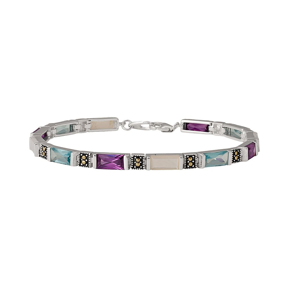 Le Vieux Cubic Zirconia, Mother-of-Pearl, Marcasite & Glass Sterling Silver Bracelet - Made with Swarovski Marcasite
