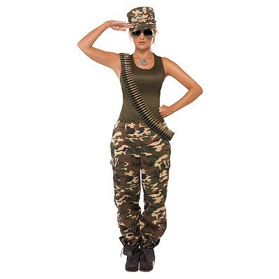 Khaki Camo Lady Costume - Adult