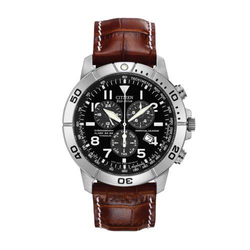Citizen Eco-Drive Titanium Perpetual Calendar Leather Chronograph Watch - BL5250-02L - Men