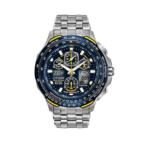 81045225644 Citizen Watch - Men s Eco-Drive Blue Angels Skyhawk A-T Titanium Analog    Digital Flight Computer Chronograph - JY0050-55L