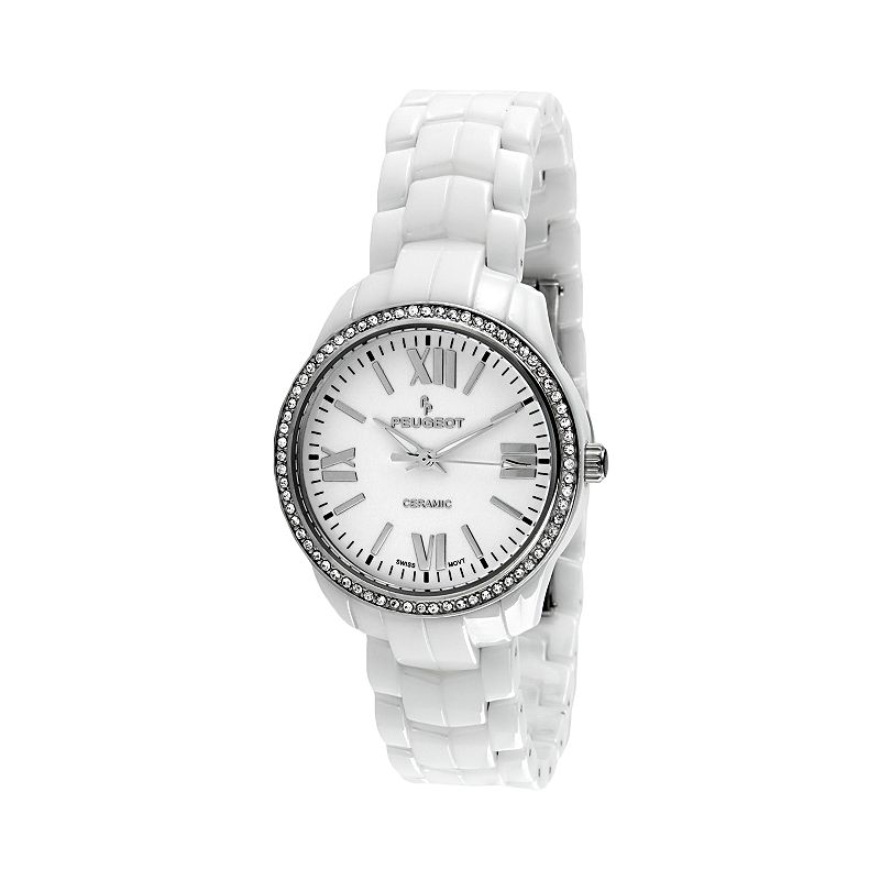 Peugeot White Ceramic Crystal Watch - PS4901WT - Women
