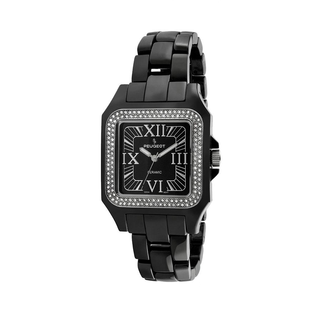 Peugeot Black Acrylic Crystal Watch - 7062BK - Women
