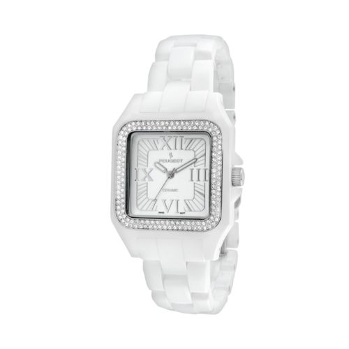 Peugeot White Acrylic Crystal Watch - 7062WT - Women