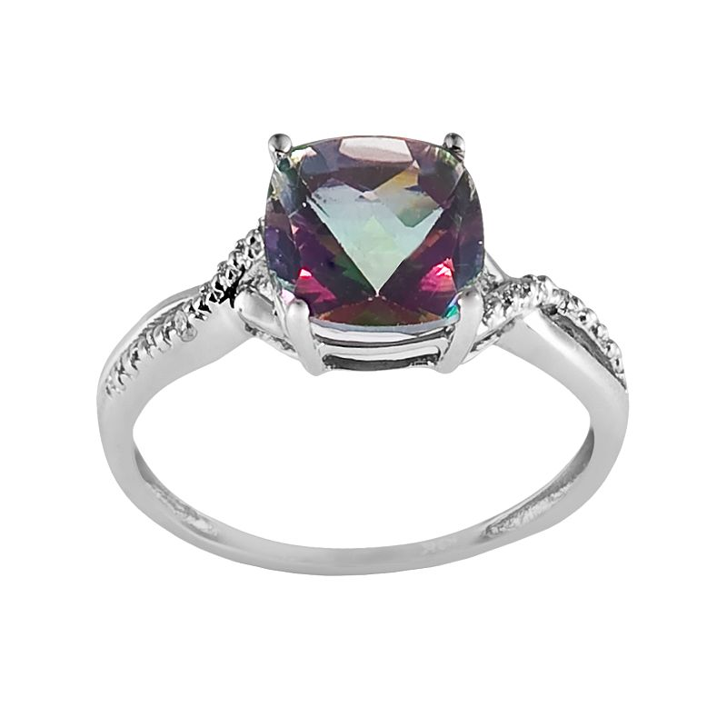 10k White Gold Mystic Fire Topaz and Diamond Accent Ring