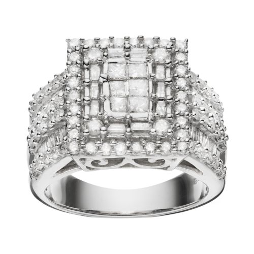 Diamond Square Frame Engagement Ring in 10k White Gold (2 ct. T.W.)