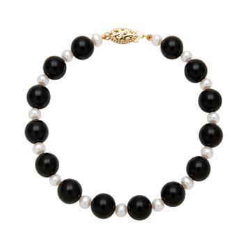 14k Gold Freshwater Cultured Pearl & Onyx Bead Bracelet