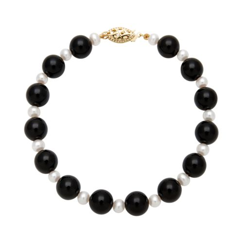14k Gold Freshwater Cultured Pearl and Onyx Bead Bracelet