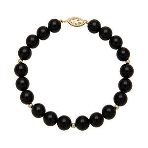 14k Gold Onyx Bead Bracelet