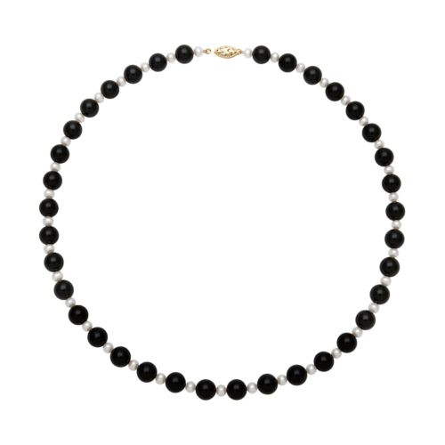14k Gold Freshwater Cultured Pearl and Onyx Bead Necklace