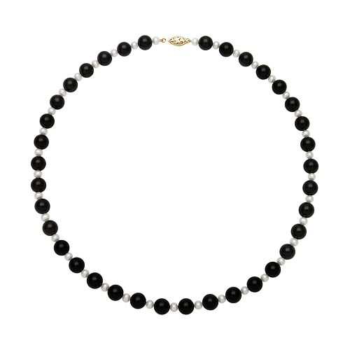 14k Gold Freshwater Cultured Pearl & Onyx Bead Necklace