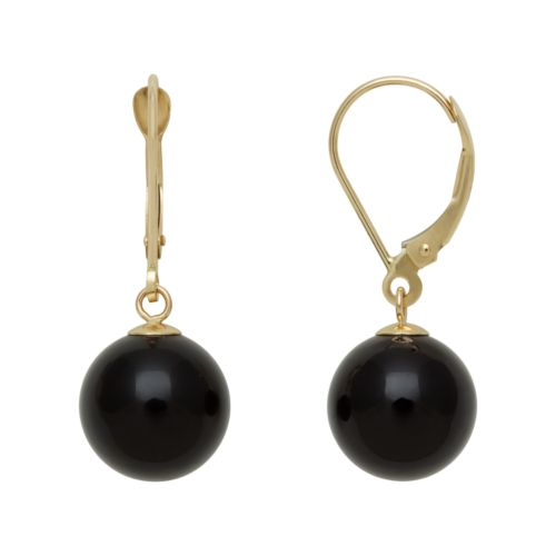 14k Gold Onyx Bead Drop Earrings