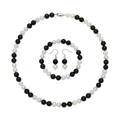 Sterling Silver Freshwater Cultured Pearl & Onyx Bead Necklace, Stretch Bracelet & Drop Earring Set