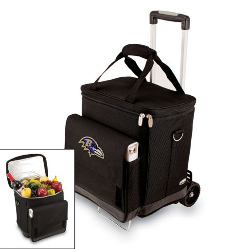 Picnic Time Baltimore Ravens Cellar Insulated Wine Cooler and Hand Cart