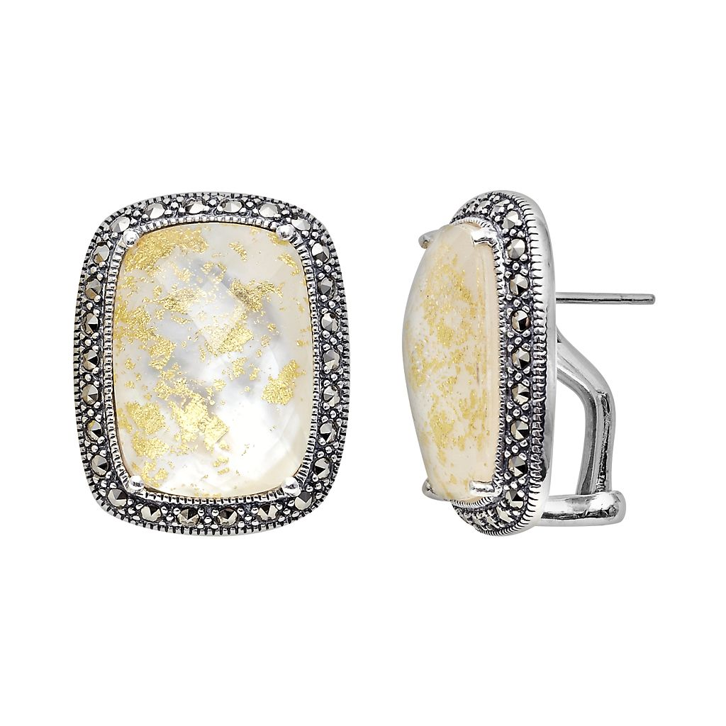 Lavish by TJM Sterling Silver Crystal & Mother-of-Pearl Doublet Frame Stud Earrings - Made with Swarovski Marcasite