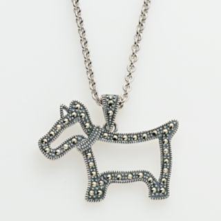 Lavish by TJM Sterling Silver Scottie Dog Pendant - Made with Swarovski Marcasite