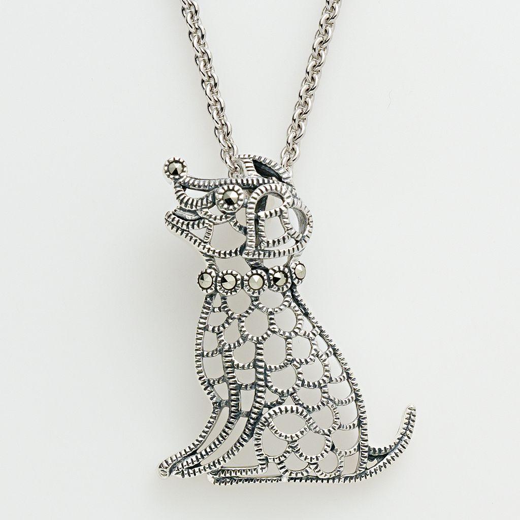 Lavish by TJM Sterling Silver Dog Pendant - Made with Swarovski Marcasite