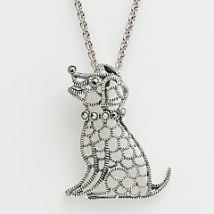 Lavish by TJM Sterling Silver Dog Pendant - Made with Swarovski Marcasite