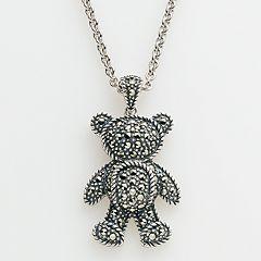 Lavish by TJM Sterling Silver Teddy Bear Pendant - Made with Swarovski Marcasite