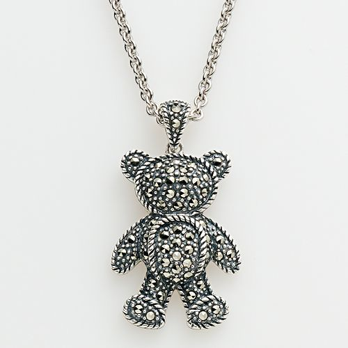 Lavish by TJM Sterling Silver Teddy Bear Pendant - Made with Swarovski Marcasite