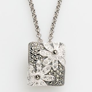 Lavish by TJM Sterling Silver Crystal Flower Pendant - Made with Swarovski Marcasite