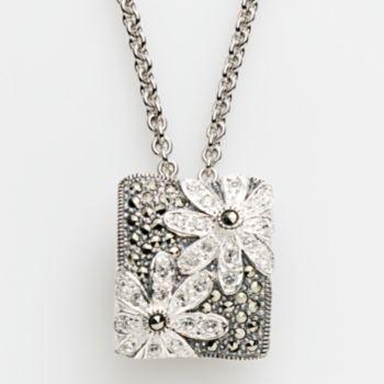 Lavish by TJM Sterling Silver Crystal Flower Pendant - Made with Swarovski Marcasite