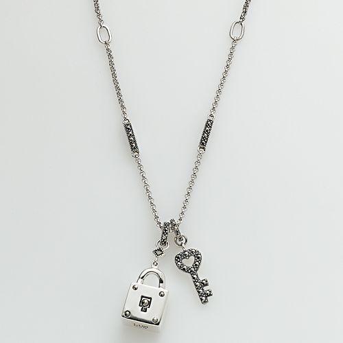 Lavish by TJM Sterling Silver Lock & Heart Key Pendant - Made with Swarovski Marcasite